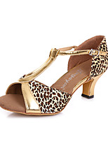 Non Customizable Women's Dance Shoes Leather Leather Latin / Salsa Heels Stiletto Heel Practice Black / Gold / Leopard