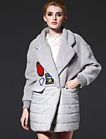 FRMZ  Women's Solid / Embroidered Gray Padded CoatStreet chic Notch Lapel Long Sleeve