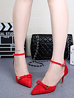 Women's Heels Spring Fall Suede Outdoor Low Heel Bowknot Pink Red Walking