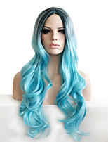 Synthetic Wigs Natural Long Curly Black/Blue Ombre Cosplay Capless Wigs for Women