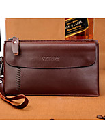 Men Cowhide Office & Career Clutch Brown