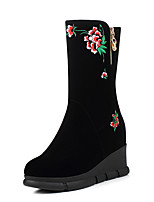 Women's Boots Fall / Winter Comfort Fabric Casual Flat Heel Slip-on Black Others