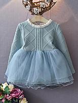 Vestido Chica de-Casual/Diario-Retazos-Rayón-Otoño / Primavera-Azul / Rosa