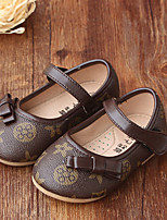 Girl's Flats Spring / Fall Ballerina / Round Toe Leatherette Casual Flat Heel Bowknot Brown / Gray Others