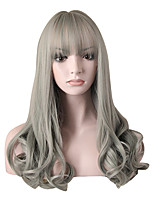 Fashion Long Curly Wig Grey Color Synthetic African American Women Wigs