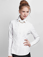 NAKED ZEBRA Women's Shirt Collar Long Sleeve Shirt & Blouse White-WT3509
