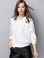AJIDUO® Damen Ständer Lange Ärmel Shirt & Bluse Schwarz / Weiß-A9215