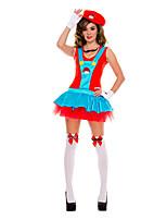 Costumes de Cosplay / Costume de Soirée Superhéros Fête / Célébration Déguisement Halloween Rouge / Bleu Ciel Mosaïque Robe Halloween