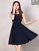Our Story Going out Street chic A Line DressEmbroidered Round Neck Knee-length Sleeveless Blue Polyester