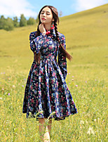 Our Story  Going out Vintage A Line DressFloral Round Neck Knee-length Long Sleeve Blue Cotton Sprin