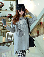 Women's Going out / Sports Cute / Street chic / Active Loose / Shift DressSolid Hooded Above Knee Long Sleeve