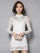 Women's Plus Size / Going out / Casual/Daily Vintage / Street chic Sheath / Lace DressSolid Crew Neck  Long Sleeve