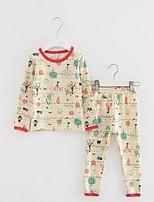 Мальчик Набор одежды / Пижамы,На каждый день,С принтом,Хлопок,Зима / Весна / Осень,Бежевый