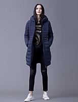 Women's Solid Blue Down CoatSimple Hooded Long Sleeve