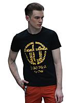 Herren T-shirt-Druck / Leopardenmuster Freizeit Baumwolle Kurz-Schwarz