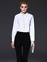 FRMZ  Women's Work Simple Spring ShirtSolid Shirt Collar Long Sleeve White Cotton Medium