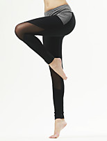 Pantalon de yoga Collants Respirable / Séchage rapide / Compression / Confortable Taille moyenne Extensible Vêtements de sport Gris / Noir