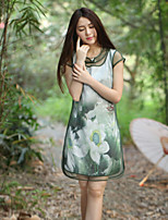 Our Story Women's Going out Chinoiserie Sheath DressFloral Round Neck Above Knee Short Sleeve Green Rayon