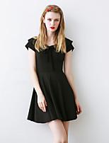 Damen A-Linie Kleid-Ausgehen Einfach Solide V-Ausschnitt Übers Knie Kurzarm Schwarz Polyester Sommer Hohe Hüfthöhe Unelastisch Mittel