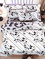 Bedtoppings Comforter Duvet Quilt Cover 4pcs Set Queen Size Flat Sheet Pillowcase Butterfly Prints Microfiber