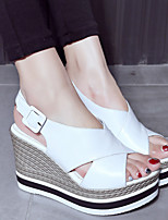 Damen-Sandalen-Lässig-Lackleder-Keilabsatz-Komfort-Schwarz / Weiß