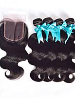 Волосы Уток с закрытием Малазийские волосы Прямые 4 предмета волосы ткет