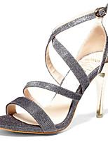 Damen-Sandalen-Lässig-PU-Stöckelabsatz-Komfort-Schwarz / Silber / Gold