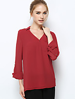 NAKED ZEBRA Women's V Neck Long Sleeve T Shirt White / Red / Green-YT4114