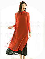 Ramie Cotton Women's Casual/Daily Chinoiserie Loose DressSolid Stand Midi Long Sleeve Red Others Spring