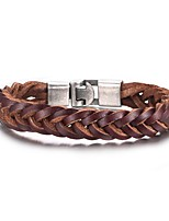 Men's Wrap Bracelets Leisure Personality High-Quality Alloy Material Genuine Leather Material(1Pc)(Brown) Christmas Gifts