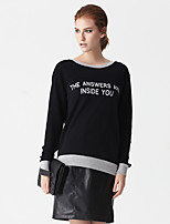 Women's Simple Regular HoodiesLetter Black/Gray Round Neck Long Sleeve Cotton Spring/Fall Medium Micro-elastic