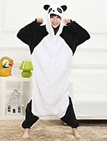 Unisex Cashmere / Polyester Cute Panda Cartoon One-piece Pajama Winter Thick Warm Sleepwear White