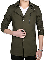 Men's Solid Casual / Work Trench Coat Cotton / Polyester Long Sleeve Winter Long Outerwear