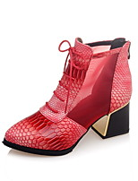 Women's Boots Spring / Fall / Winter Motorcycle Boots / Combat Boots Leatherette/ Casual Chunky Heel Blue / Brown