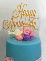 Украшения для торта Персонализированные не Монограмма Акрил Годовщина Цветы Золотой Классика 1 Пенополиуретан