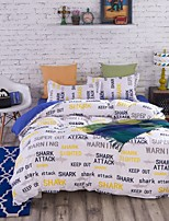 Bedtoppings Comforter Duvet Quilt Cover 4pcs Set Queen Size Flat Sheet Pillowcase White Words Prints Microfiber
