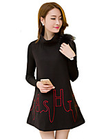 Women's Plus Size / Going out / Casual/Daily Street chic Loose DressPatchwork / Embroidered Stand  Long Sleeve Black