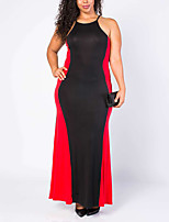 Women's Plus Size / Casual/Daily Vintage Sheath DressPatchwork Strap Maxi Sleeveless Blue / Red Polyester All Seasons