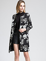 BORME Women's Round Neck Long Sleeve Trench Coat Black-Y066