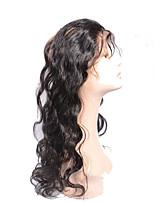 10''-20'' Натуральный чёрный (#1В) Лента спереди Естественные кудри Человеческие волосы закрытие Умеренно-коричневый Швейцарское кружево