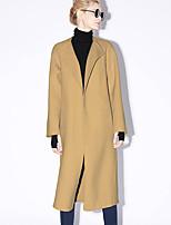 новый, прежде чем женщин формальной простой coatsolid воротник рубашки с длинным рукавом осень / зима коричневый / фиолетовый шерсть непрозрачна