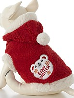 Dog Hoodie Red Dog Clothes Winter Cartoon Cute / Christmas