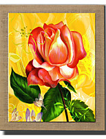 Modern Wall Art Oil Painting Abstract Flower Hand Painted On Natural Linen With Stretched Frame