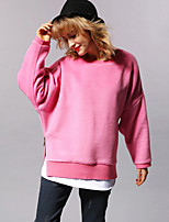 Newbefore Women's Casual/Daily Simple Long HoodiesSolid Pink / Brown Round Neck Long Sleeve