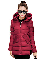 Women's Solid Slim Hin Thin Thick  Padded Coat Simple / Street chic Hooded Long Sleeve