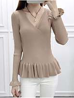 Women's Casual/Daily Simple Regular PulloverSolid V Neck Long Sleeve Polyester Fall / Winter Medium