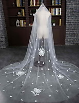 Wedding Veil Two-tier Cathedral Veils Cut Edge Tulle Ivory Flowers