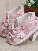 Girl's Sandals Spring / Summer / Fall Sandals PU Outdoor / Casual Flat Heel Bowknot Pink / White Walking
