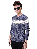 Men's Solid Casual / Work / Formal / Sport / Plus Size PulloverCotton Long Sleeve Blue / Yellow