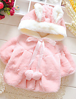 Girl's Casual/Daily Solid BlouseRabbit Fur Winter / Spring / Fall Pink / White